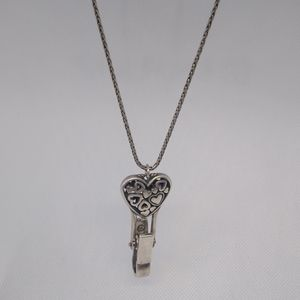 """Silver Plated 32"""" IN Heart Necklace"""